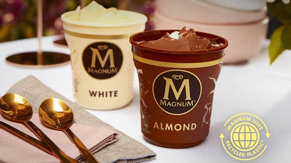 Magnum recycled plastic ice cream tub