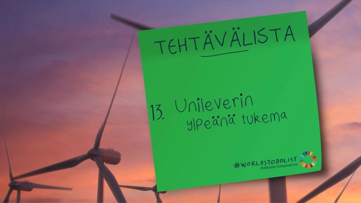 Banner with wind turbines image and then a green sticky note on the right-hand side  #WorldsToDoList