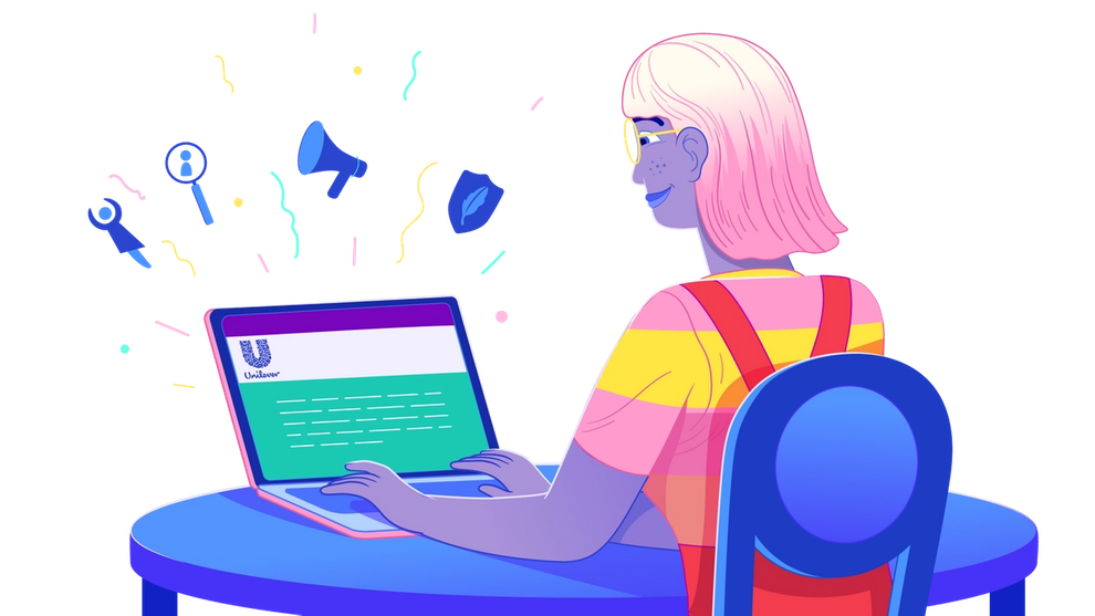 illustration of a young woman sitting at a desk with a laptop
