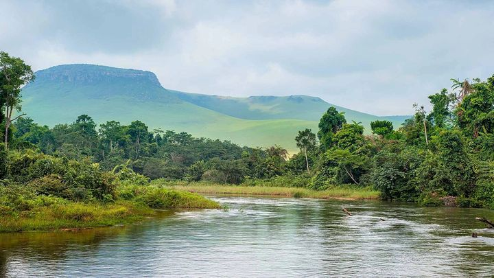 Congo river with mountains in the background and trees on the banks