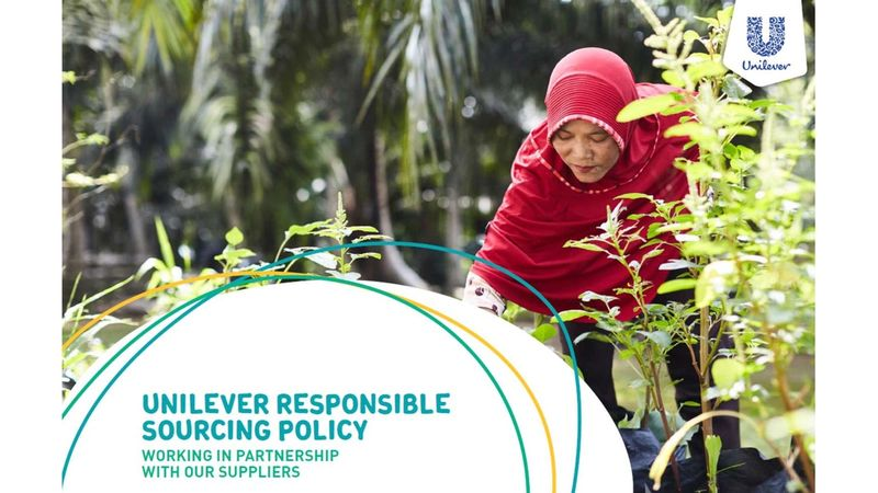 front cover of the unilever responsible sourcing policy depicting a woman harvesting crops