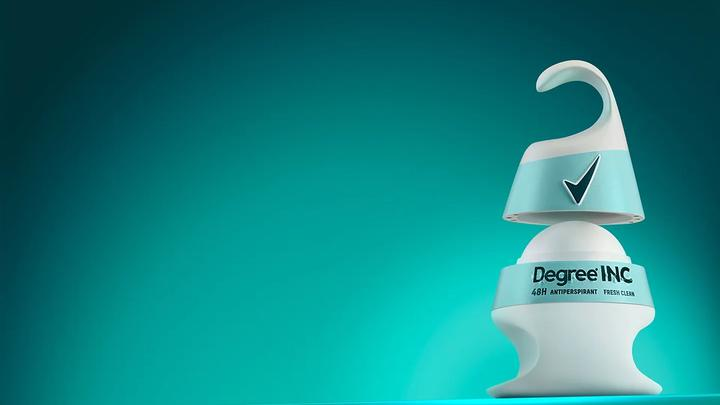 A photo of Degree Inclusive prototype deodorant. Features include hooked packaging that's easier to grip, and a braille label