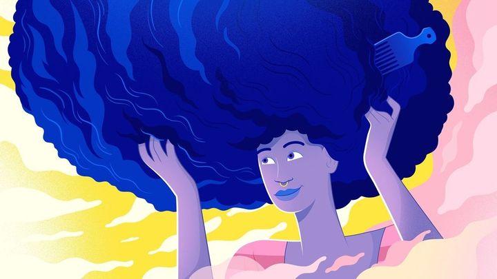Saçında tarak olan kız illüstrasyonu