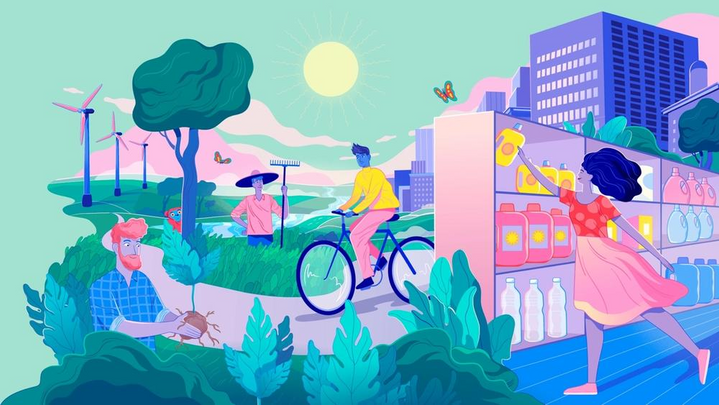 A bright and colourful Unilever illustration featuring four different people going about their daily activities