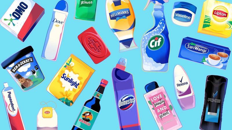 Illustrations of Unilever's brands on a blue background