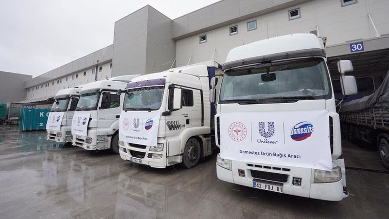 Lorries transporting soap