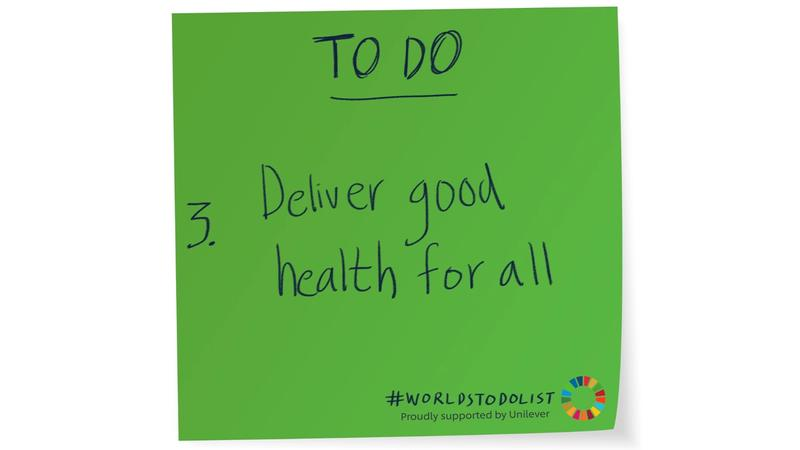 Green sticky note with Deliver good health for alll written on it