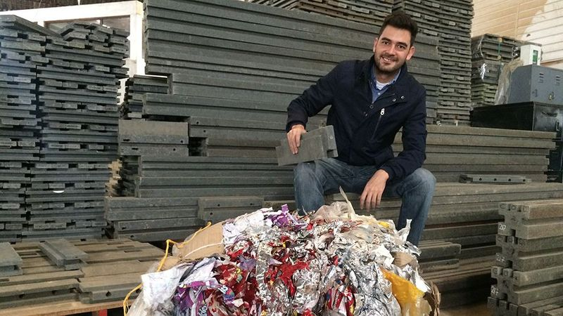 Oscar Andres Mendez with recycled plastic