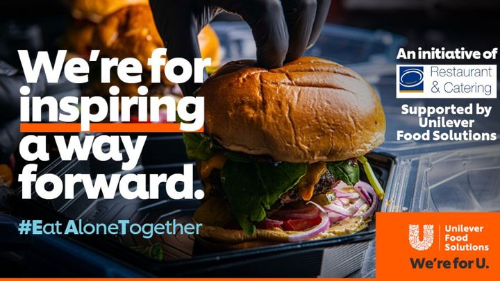 eat alone together campaign image with burger