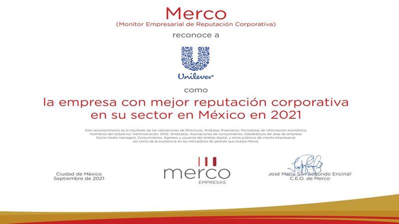 Unilever encabeza sector consumo masivo Merco