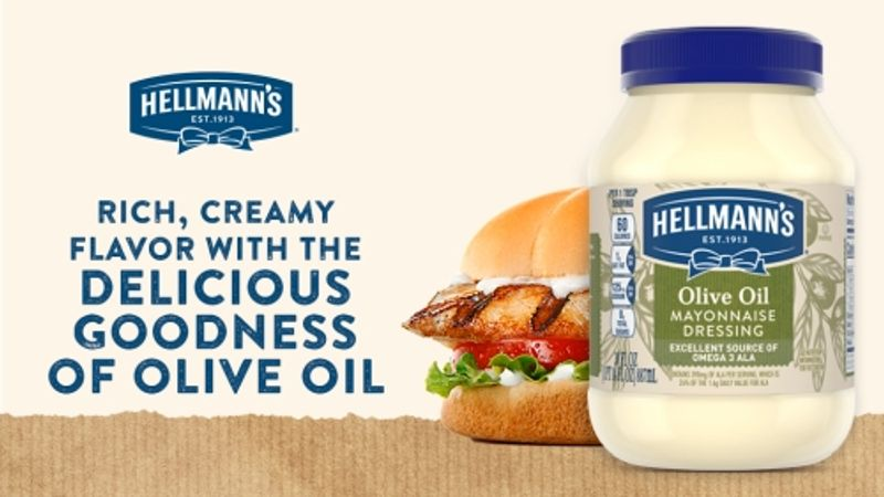 Poster featuring a jar of Hellmann's Made with Olive Oil  beside a burger