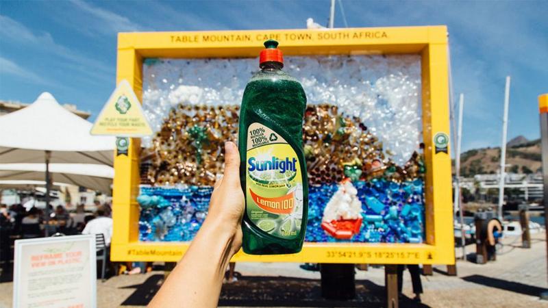 Sunlight dishwash bottle.