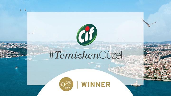 : Cif Temizken Güzel projesinin IPRA Altın Küre Ödülleri'nde ödül aldığını belirten görsel