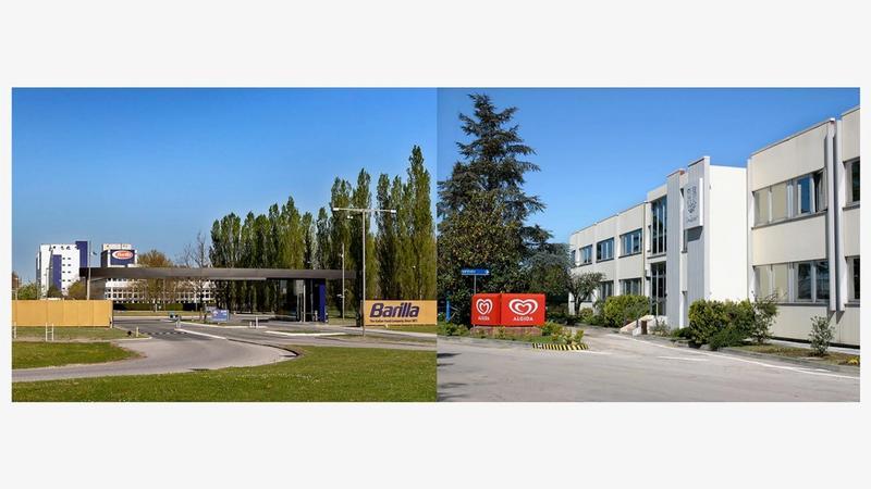 Da sinistra a destra - la sede Barilla di Parma e lo stabilimento Algida di Caivano