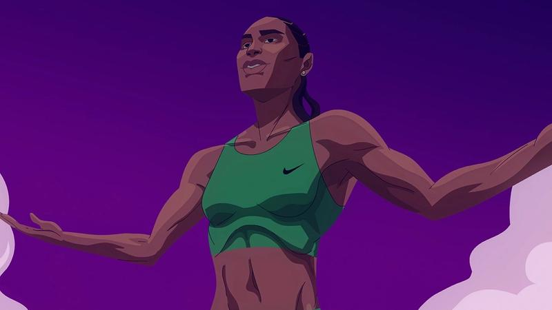 Graphic depiction of Olympic 800-metre gold medallist Caster Semenya.