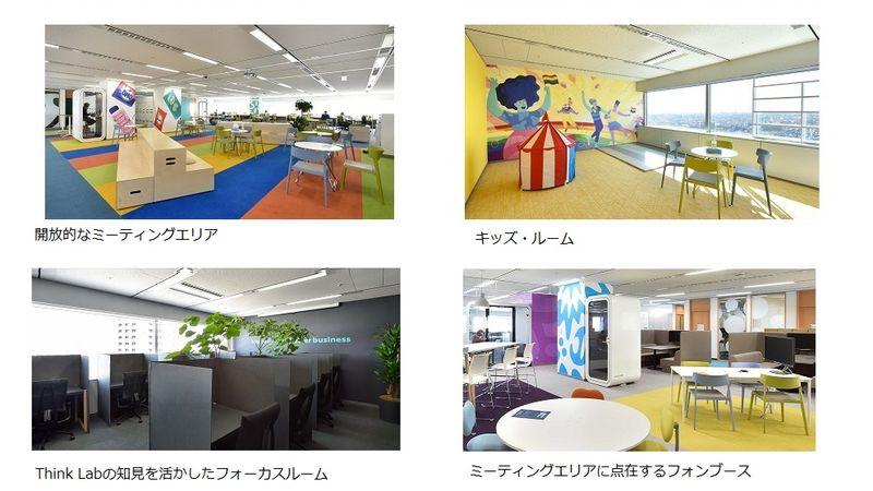 開放的なミーティングエリアや子ども連れでも働けるキッズルーム、Think Labの知見を活かしたフォーカスルーム、機密性の高いフォンブースなどがあります。