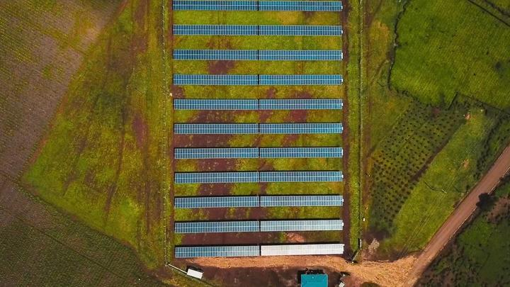 Sky view of solar panels