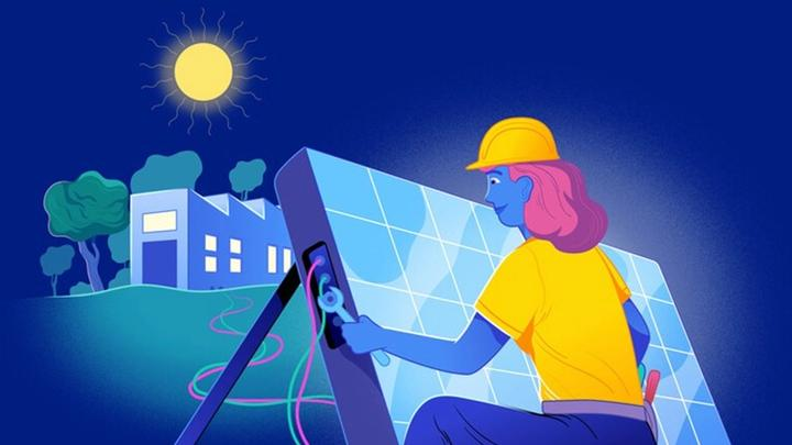 Animation of a woman fixing a solar panel