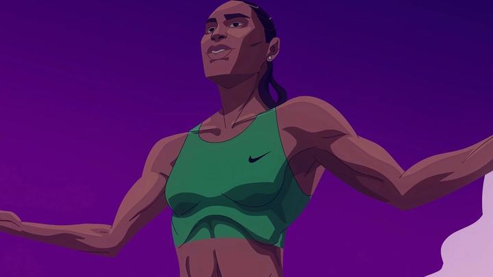 Graphic depiction of Olympic 800-metre gold medallist Caster Semenya