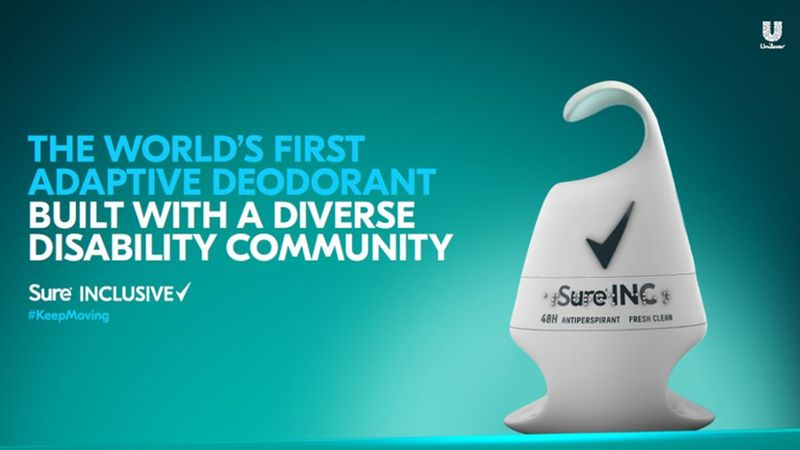 An image of an individual with upper limb disabilities using the new, adaptive sure deodorant.