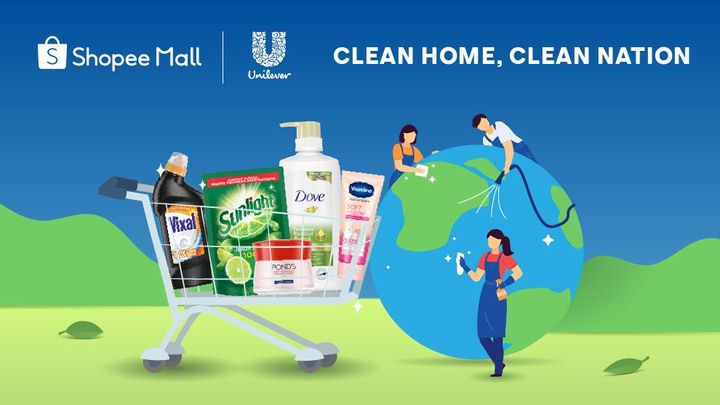 A cart of Unilever Home Care products beside a group of people cleaning up an image of the world