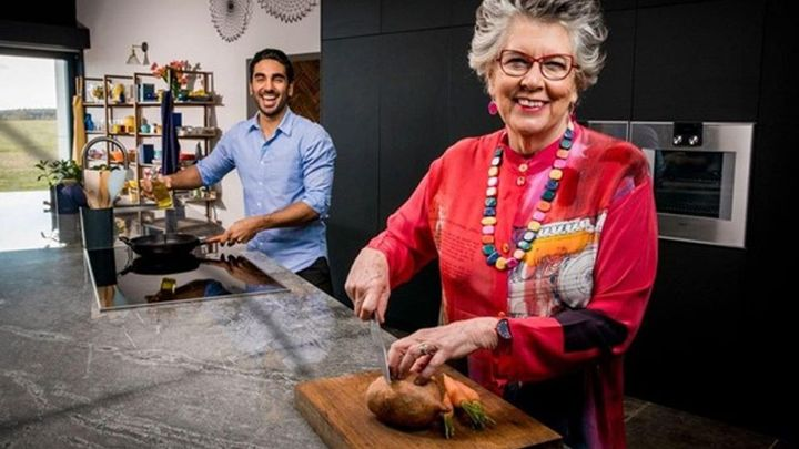 Prue Leith and Dr Rupy Aujla cooking up a storm in the kitchen.