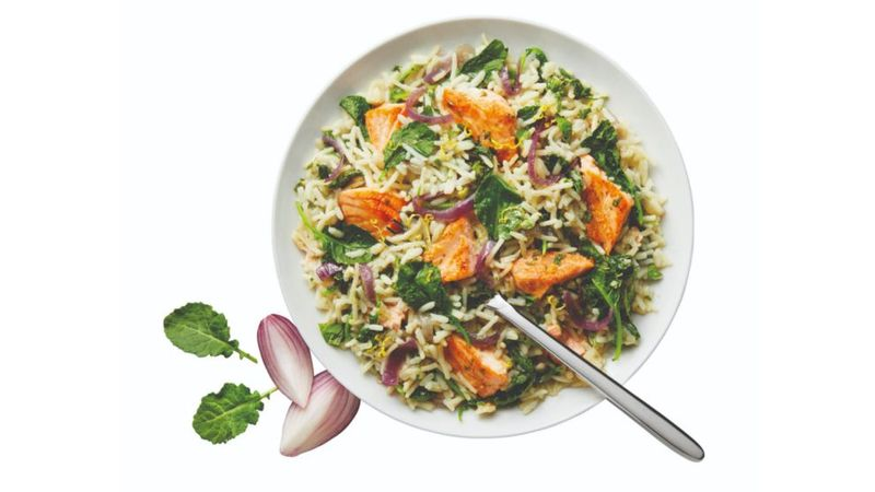Salmon Kale Rice Dish made with Knorr Rice Sides