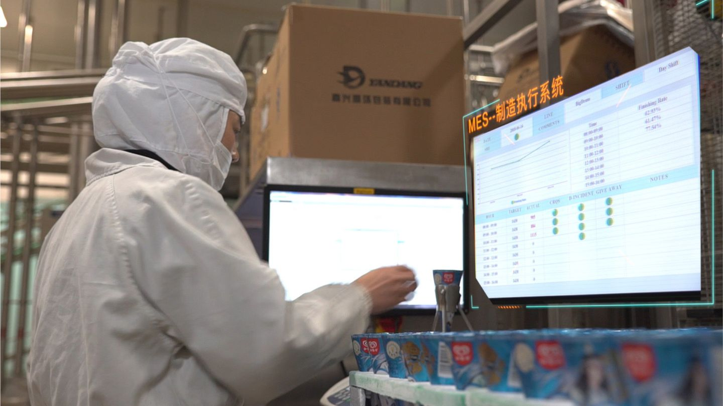 Factory worker wearing protective equipment conducting quality checks on Cornetto ice creams