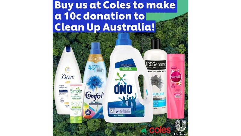 """Unilever's range of PCR bottles with text """"Buy us at Coles to make a 10c donation to Clean Up Australia"""""""