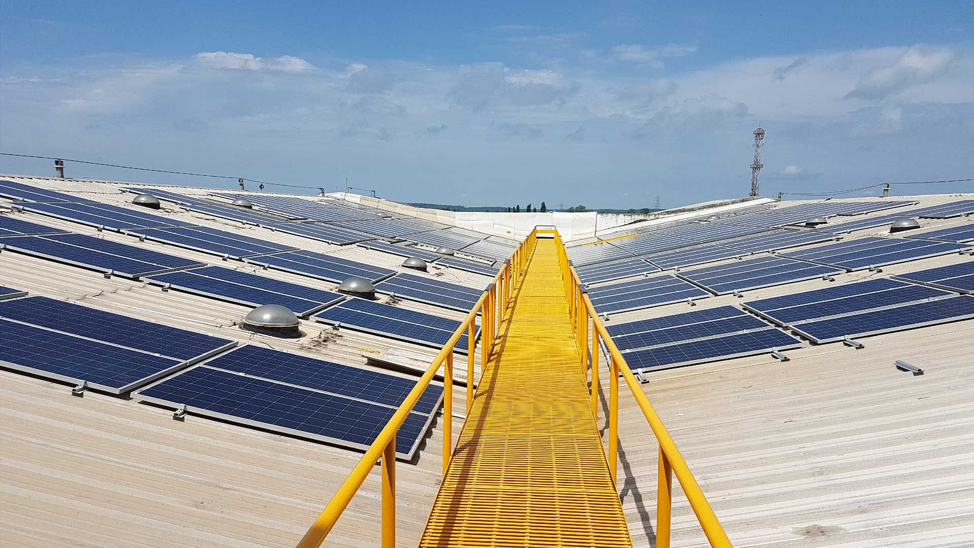 Solar panels on the roof of Unilever's Silvassa Detergent Factory, Silvassa, India.