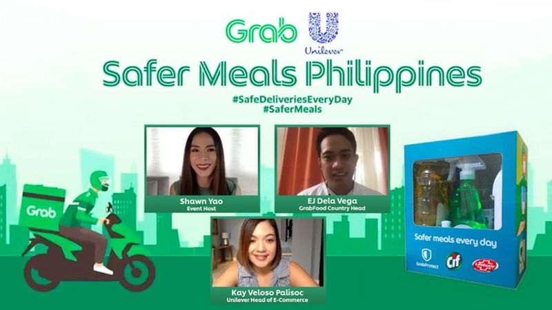 Shawn Yao, event host; EJ, GrabFood Country Head and Kay Veloso Unilever Head of E-Commerce with a sample hygiene kit.