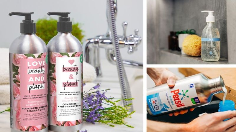Unilever products from Persil, Love Beauty and Planet and REN Clean Skincare, in their new reusable packaging formats