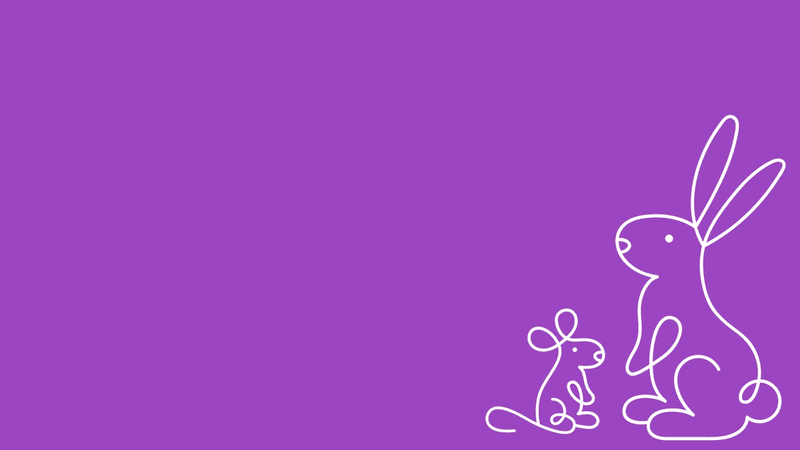 A purple background with a line-drawn rabbit and mouse in white.