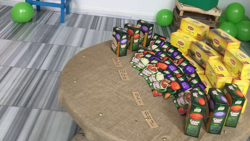 Lipton teas and Knorr packet soups on a table