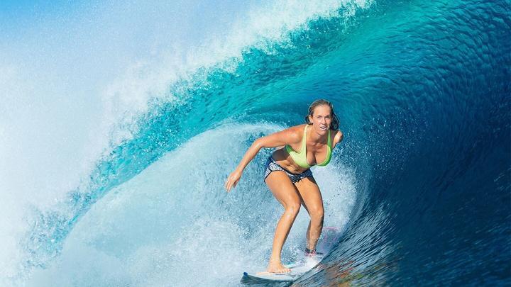 Pro-surfer Bethany Hamilton riding a wave