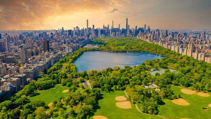 A overhead view of central park