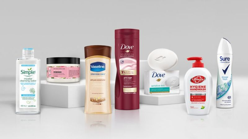 An image of a selection of Unilever brands like Simple, Vaseline, Dove and Lifebuoy, committed to Positive beauty.