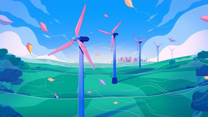 An animated image of multiple wind turbines