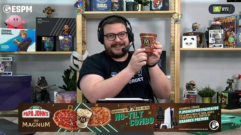 Gaming presenter holding up Magnum ice cream pint during a live stream