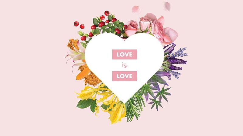 Love Beauty and Planet's logo in a heart surrounded by natural ingredients
