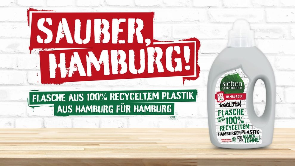 Seventh Generation laundry bottle made from plastic recycled in Hamburg