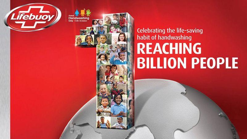 A Lifebuoy campaign image celebrating reaching 1 billion people.