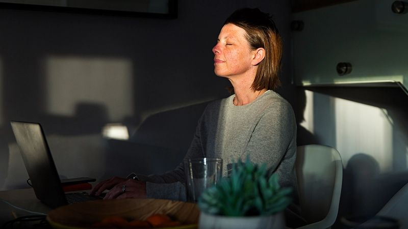 A woman sits at her laptop with her eyes shut to catch the rays of a sunbeam