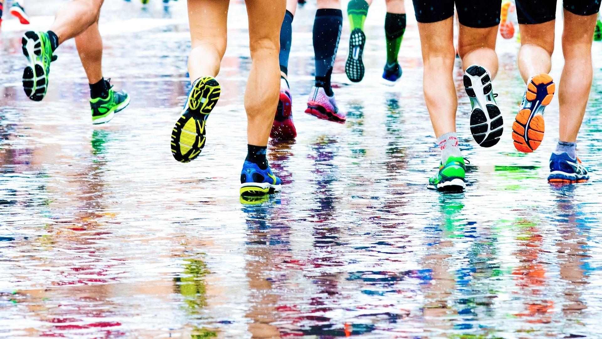 People running in a marathon