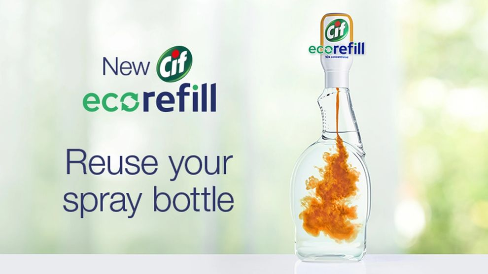 Cif ecorefill being added to a spray bottle of water