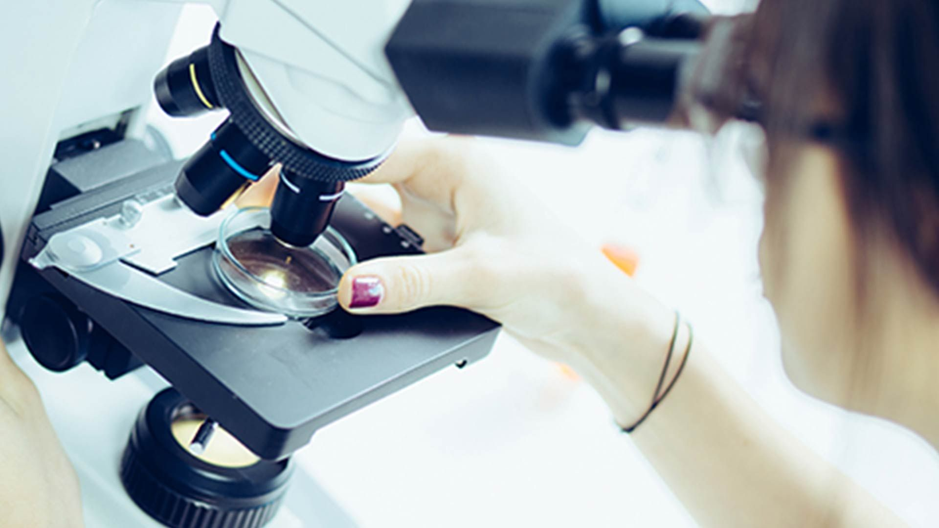 close up of a lady looking through a microscope at a sample in a petri dish