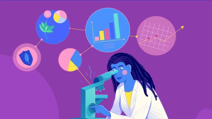 An illustration of a woman looking through a microscope