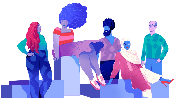 an illustration of people sitting on some blocks