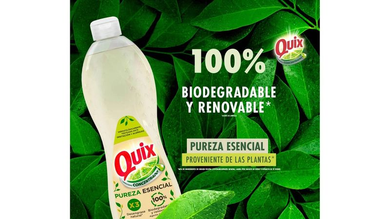 Bottle of Quix dishwash liquid with biodegradable ingredient