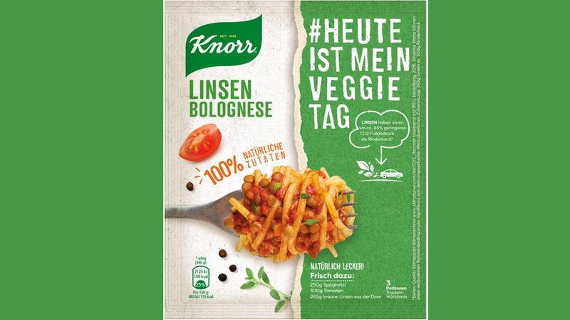 The packaging for the Knorr spaghetti bolognese range in Germany
